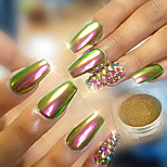 cheap -1pc Luxury Mirror Effect Shiny Powder Nail Glitter Glitter Powder Gold Brown Pattern Nail Art Design Nail Art Tips