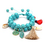 cheap -Men's Women's Strand Bracelet Turquoise Simple Fashion Turquoise Alloy Leaf Jewelry Daily