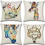 cheap -4 pcs Cotton/Linen Pillow CoverAnimal Print 3D Retro