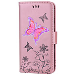 cheap -Case For Huawei P8 Lite (2017) P10 Lite Card Holder Wallet with Stand Embossed Pattern Full Body Butterfly Flower Hard PU Leather for P10