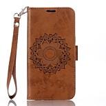 Недорогие -Кейс для Назначение Motorola G4 Plus Кошелек Бумажник для карт со стендом Флип Рельефный Чехол Мандала Твердый Искусственная кожа для