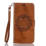Недорогие -Кейс для Назначение Huawei Y6 II / Honor Holly 3 Y5 II / Honor 5 Бумажник для карт Кошелек со стендом Флип Рельефный Чехол Мандала Твердый
