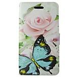 Недорогие -Кейс для Назначение Huawei P8 Lite Кошелек Бумажник для карт со стендом Флип Чехол Бабочка Цветы Твердый Кожа PU для