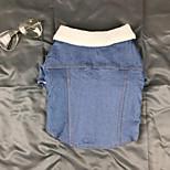 Недорогие -Собака Джинсовые куртки Одежда для собак Болеро На каждый день Сохраняет тепло Однотонный Светло-синий Костюм Для домашних животных