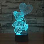Недорогие -1pc 3d лампа светодиодный свет ночного цвета красочный медведь&стол для новизны любви для дня Святого Валентина