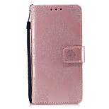 Недорогие -Кейс для Назначение Huawei P8 Lite (2017) P10 Lite Кошелек Бумажник для карт со стендом Рельефный С узором Чехол Сплошной цвет Мандала