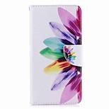 Недорогие -Кейс для Назначение Huawei P8 Lite (2017) Mate 10 Кошелек Бумажник для карт со стендом Флип С узором Чехол Цветы Твердый Искусственная