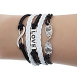 cheap -Men's Women's Wrap Bracelet , Simple Fashion Leather Alloy Owl Jewelry Daily