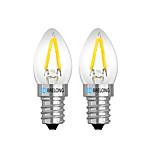 Недорогие -BRELONG® 2шт 2 Вт. 120 lm E14 E12 Круглые LED лампы 2 светодиоды Тёплый белый Белый Красный AC 220V