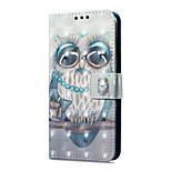 Недорогие -Кейс для Назначение Huawei P9 lite mini Кошелек Бумажник для карт со стендом Флип С узором Магнитный Чехол Сова Твердый Искусственная кожа