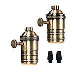 cheap -2Pcs E26/E27 Industrial Light Socket Metal Shell with Knob ON/OFF Vintage Pendant Lamp Holder DIY