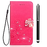 cheap -Case For Vivo vivo Y53 vivo Xplay6 Card Holder Wallet Rhinestone with Stand Flip Embossed Full Body Cases Flower Hard PU Leather for Vivo