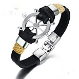 cheap -Men's Bangles , Vintage Stainless Steel Leather Geometric Jewelry Gift Daily