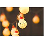 Недорогие -10 светодиодов 2-метровый светлый снеговик теплый белый декоративный свет aa батареи питание