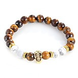 cheap -Men's Women's Strand Bracelet Bracelet Onyx Tiger Eye Stone Vintage Statement Jewelry Alloy Circle Skull Jewelry Evening Party Street