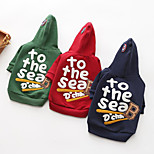 cheap -Dogs Hoodie Dog Clothes Casual/Daily Warm Ups Quotes & Sayings Blue Green Red Costume For Pets