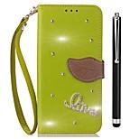 Недорогие -Кейс для Назначение Vivo X20 Plus X20 Бумажник для карт Кошелек Стразы со стендом Флип Чехол Сплошной цвет Твердый Кожа PU для vivo X20