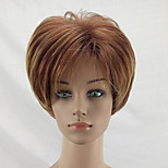 cheap -Synthetic Wig Straight Layered Haircut Natural Hairline Brown Women's Capless Natural Wigs Short Synthetic Hair