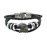 cheap -Men's Women's Leather Wrap Bracelet - Vintage Basic Eagle Black Brown Bracelet For Street Date