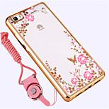 Недорогие -Кейс для Назначение Huawei P8 Lite Защита от удара Стразы Кейс на заднюю панель Цветы Мягкий Силикон для Huawei P8 Lite