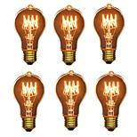 preiswerte -6pcs 40W E26/E27 A60(A19) Warmes Weiß 2200-2700 K Retro Abblendbar Dekorativ Glühbirne Vintage Edison Glühbirne 220V-240V V