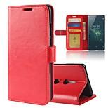 Недорогие -Кейс для Назначение Sony Xperia XA2 Ultra Xperia XZ2 Бумажник для карт Кошелек со стендом Флип Магнитный Чехол Сплошной цвет Твердый Кожа
