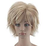 Недорогие -Парики из искусственных волос Кудрявый Стрижка каскад Природные волосы плотность Без шапочки-основы Жен. Блондинка Парик из натуральных