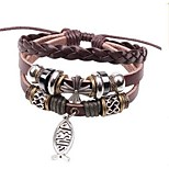 cheap -Men's Wrap Bracelet , Fashion Rock Leather Alloy Fish Jewelry Daily Costume Jewelry Brown
