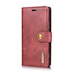 Недорогие -Кейс для Назначение Sony Xperia XZ Xperia XZ1 Бумажник для карт со стендом Флип Чехол Сплошной цвет Твердый Настоящая кожа для Sony