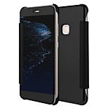 cheap -Case For Huawei P10 Lite P10 Plating Mirror Flip Full Body Cases Solid Color Hard PU Leather for P10 Lite P10 Huawei P9 Lite P8 Lite