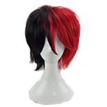 cheap -Synthetic Wig Curly Layered Haircut Natural Hairline Black Red Men's Capless Party Wig Cosplay Wig Short Synthetic Hair