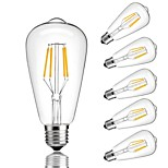 abordables -6pcs 4W 360lm E26 / E27 Ampoules à Filament LED ST64 4 Perles LED COB Décorative Blanc Chaud Blanc Froid 220-240V
