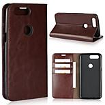 Недорогие -Кейс для Назначение OnePlus OnePlus 5T 5 Бумажник для карт Кошелек Защита от удара со стендом Флип Чехол Сплошной цвет Твердый Настоящая