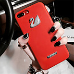 cheap -Case For Apple iPhone X iPhone 7 Plus Rhinestone Pattern Back Cover Solid Color Hard PU Leather for iPhone X iPhone 8 Plus iPhone 8