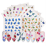 cheap -50 Stickers & Tapes Water Transfer Sticker Nail Sticker Flower Nail Decals Nail Art Design DIY