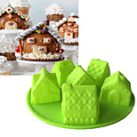 cheap -1pc House Shaped Cake Cooking Utensils Silicone Cake Molds