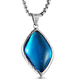 cheap -Men's Synthetic Sapphire Pendant Necklace - Casual Fashion Cool Geometric Blue Necklace For Gift Valentine