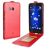 Недорогие -Кейс для Назначение HTC U11 Life U11 Бумажник для карт Флип Чехол Сплошной цвет Мягкий Кожа PU для HTC U11 HTC U11 Life HTC U11 plus
