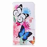 Недорогие -Кейс для Назначение Huawei P9 lite mini P8 Lite (2017) Бумажник для карт Кошелек со стендом Флип С узором Чехол Бабочка Твердый Кожа PU
