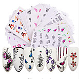 cheap -50pcs Stickers & Tapes Water Transfer Sticker Nail Sticker Nail Stamping Template Stickers Nail Art Tips Nail Art Design Sets DIY Flower