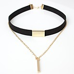 cheap -Women's Leather Choker Necklace - Simple Elegant Line Brown Black Necklace For Going out