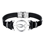 cheap -Men's Bracelet Casual Cool Leather Alloy Fish Jewelry Daily Date Costume Jewelry Black