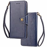 Недорогие -Кейс для Назначение Huawei P10 Lite P10 Бумажник для карт Кошелек Флип Магнитный Чехол Однотонный Твердый Настоящая кожа для P10 Plus P10