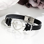 cheap -Men's Link Bracelet Casual Cool Leather Alloy Cross Jewelry Daily Date Costume Jewelry Black