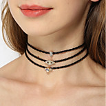 cheap -Women's Multi Layer Rhinestone Choker Necklace - Vintage Casual Multi Layer Fashion Geometric White Black Necklace For Party Engagement