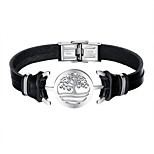 cheap -Men's Leather Link Bracelet - Casual Cool Irregular Black Bracelet For Daily Date