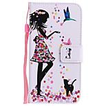 Недорогие -Кейс для Назначение Huawei P8 Lite (2017) P10 Plus Бумажник для карт Кошелек со стендом Флип С узором Чехол Кот Соблазнительная девушка