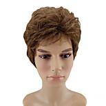 Недорогие -Парики из искусственных волос Кудрявый Стрижка каскад Природные волосы плотность Без шапочки-основы Муж. Коричневый Парик из натуральных