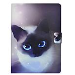 Недорогие -Кейс для Назначение Apple iPad 10.5 iPad Pro 9.7 Бумажник для карт со стендом Флип С узором Чехол Кот Твердый Кожа PU для iPad Mini 4