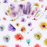 cheap -4pcs Stickers & Tapes Nail Stamping Template DIY Flower Nail Decals